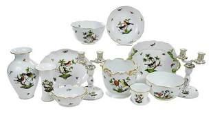 12 Pieces of Herend Rothschild Bird Porcelain