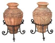 Pair Italian Terracotta Urns, Wrought Iron Stands