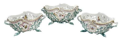 Meissen Three Piece Porcelain Basket Set