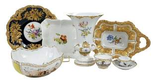 Eight Pieces Meissen Hand Painted Porcelain