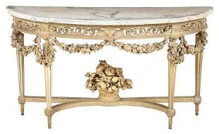 Louis XVI Style Carved Painted Marble Top Console