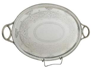 Victorian English Silver Two Handle Tray
