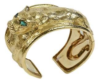 David Webb 18kt. Leopard Cuff Bracelet