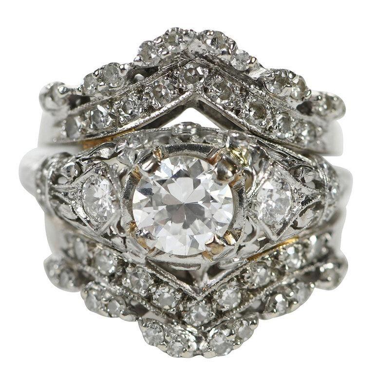 Platinum and Gold Diamond Ring