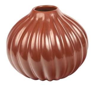 Large Santa Clara Redware Melon Jar