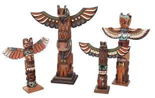 Four Northwest Coast Thunderbird Model Totems