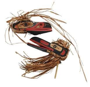 Two Northwest Coast Carved Raven Masks