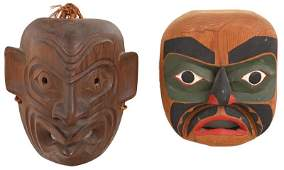 Two Wild Man of the Woods Signed Masks