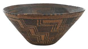 Panamint Polychrome Decorated Basket Bowl