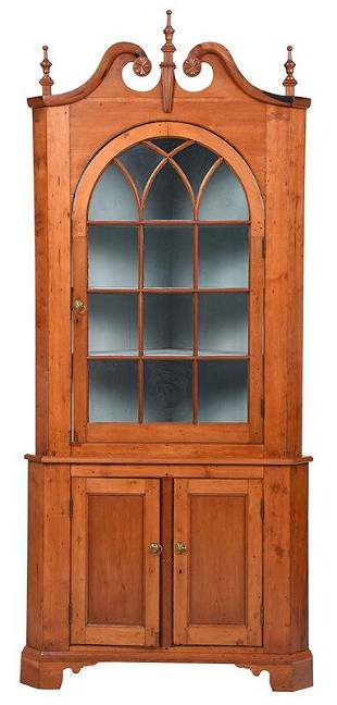 American Chippendale Cherry Corner Cupboard