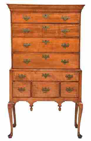 American Queen Anne Figured Maple High Chest