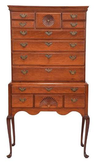 New England Queen Anne Carved Cherry High Chest