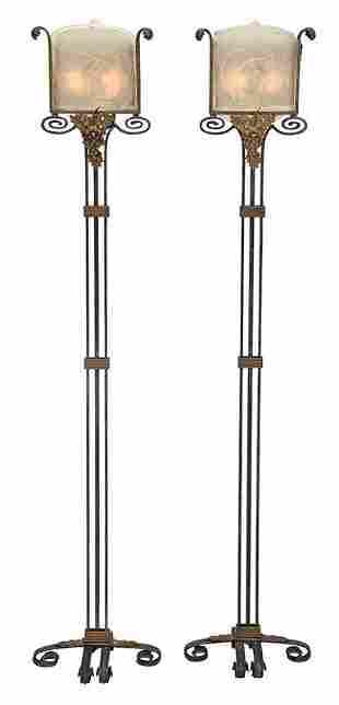Pair Oscar Bach Floor Lamps with Steuben Panels