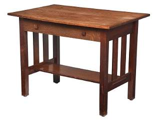 American Arts and Crafts Oak Library Table