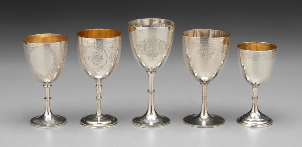 4: Five English silver goblets,