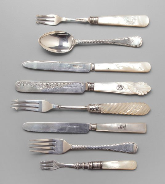 8: English silver, pearl serving pieces,