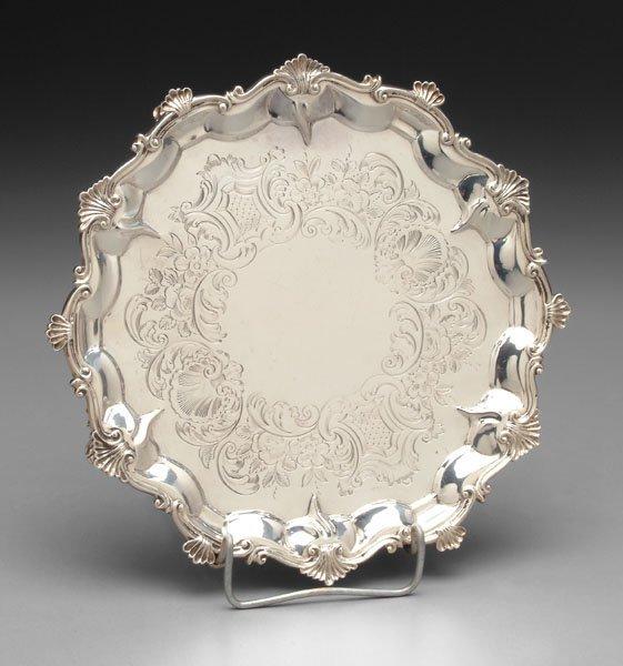 11: English silver tray,