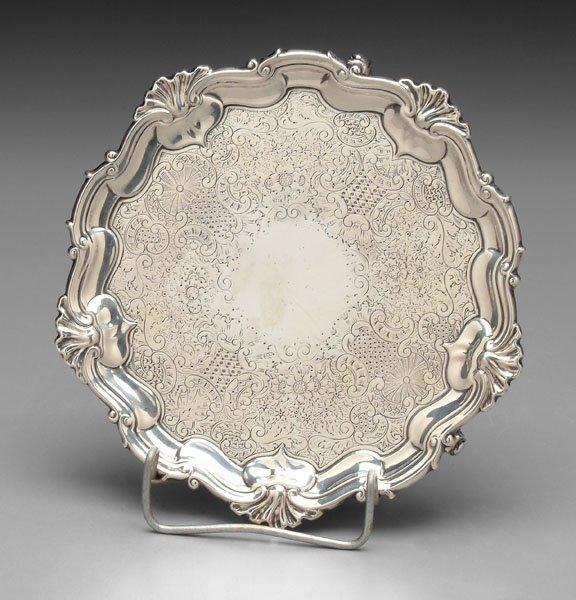 12: English silver tray,