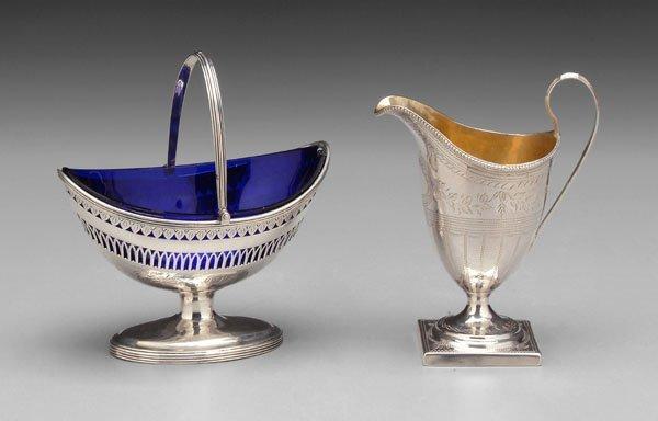 16: English silver cream, sugar basket: