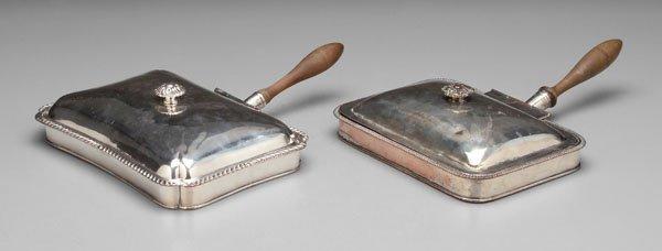 20: Old Sheffield plate bacon warmers: