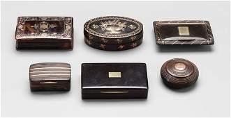 516: Six snuff boxes, four tortoise,