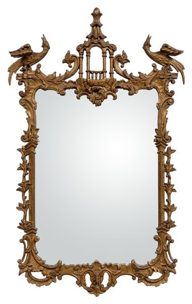 614: Chippendale style gilt-framed mirror,