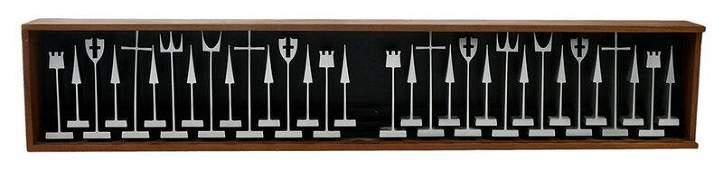 Austin Cox Mid Century Modern Metal Chess Set