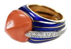 Tiffany & Co. Enamel, Coral, & Diamond Ring