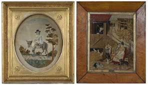 Two Framed Needleworks with Figures