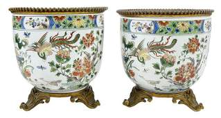 Pair of Chinese Famille Verte Porcelain Planters