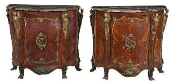 Fine Pair Louis XV Style Bronze Mounted Commodes