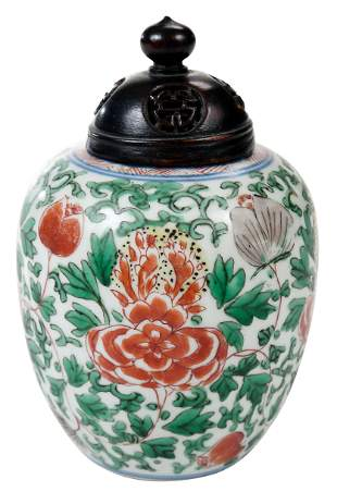 Chinese Wucai Enameled Porcelain Jar with Cover
