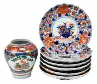 Seven Chinese Imari Porcelain Table Objects