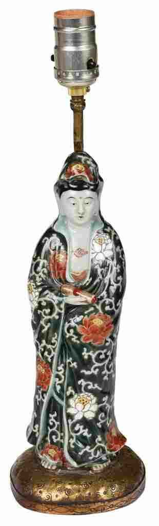 Chinese Porcelain Figure Set as Lamp