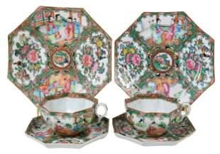 15 Piece Set of Chinese Rose Medallion Porcelain