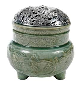 Chinese Longquan Celadon Censer with Silver Cover