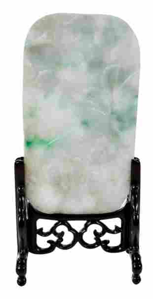 Chinese Carved Jade Plaque and Wood Stand