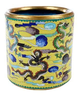 Chinese Cloisonn' Dragon Pot