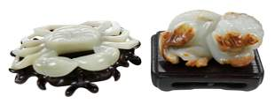 Two Carved Hardstone Animals with Stands