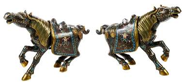 Pair of Chinese Cloisonn' Horse Form Censers
