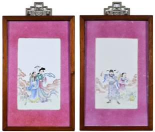 Pair Chinese Famille Rose 'Immortal' Porcelain Plaques