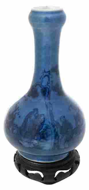 Chinese Blue Glazed Garlic Mouth Porcelain Vase