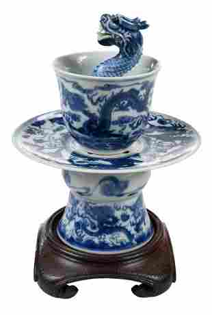 Chinese Blue and White Dragon Trick Cup on Stand