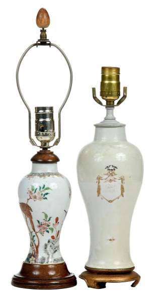 Two Chinese Vases Mounted as Lamps