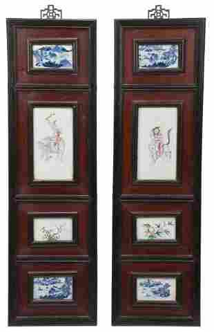 Pair of Eight Framed Chinese Porcelain Plaques