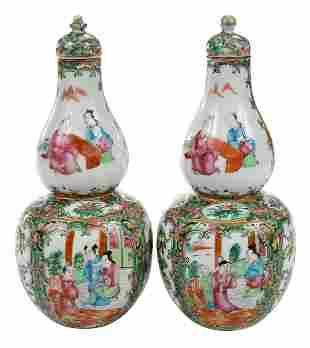 Pair Chinese Rose Medallion Double Gourd Vases