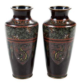 Pair Japanese Cloisonne and Gold Stone Vases