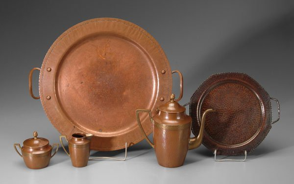 2: Five pieces Arts and Crafts copper: