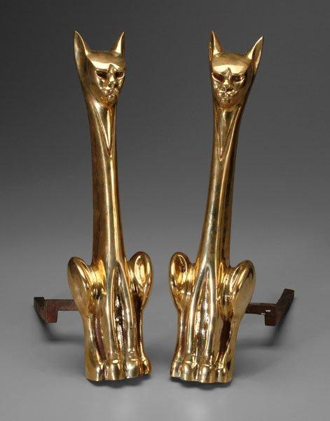 3: Pair brass cat andirons:
