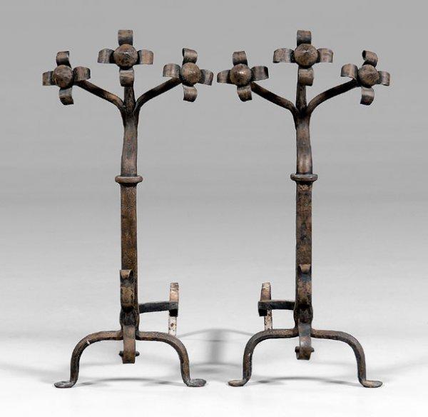 5: Pair hand-wrought iron andirons: